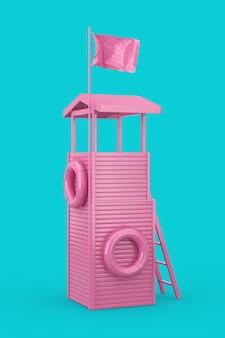 Różowa wieża ratownika jako duotone style na niebieskim tle. renderowanie 3d