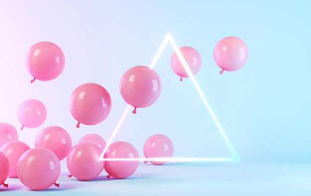 Różowe balony z neonową trójkątną ramką