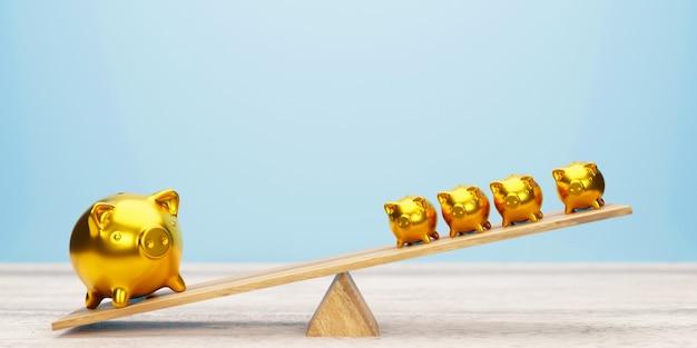 Różowe banki piggy balansując na huśtawce 3d ilustracji