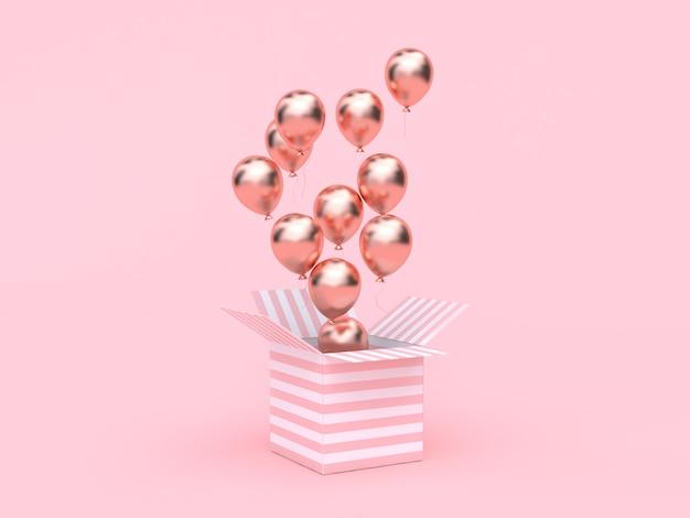 Różowe białe pudełko otwarte metaliczny balon w kolorze różowego złota pływający minimalistycznie różowy