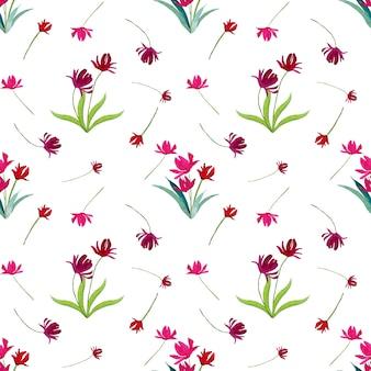Różowe i fioletowe tulipany akwarela