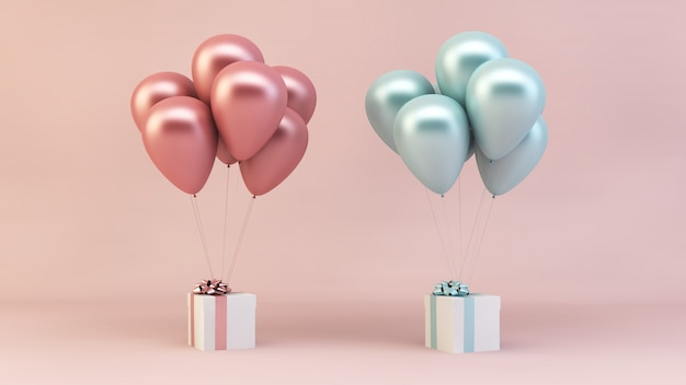 Różowe i niebieskie balony z prezentami