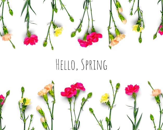 Różowe i żółte kwiaty z tekstem przywitaj wiosnę na białym tle