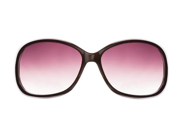 Różowe kobiece okulary przeciwsłoneczne. na białym tle