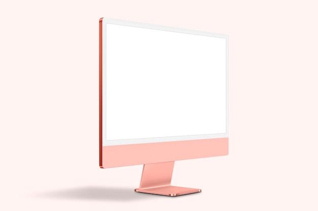 Różowe kobiece urządzenie cyfrowe z ekranem komputera stacjonarnego z przestrzenią projektową