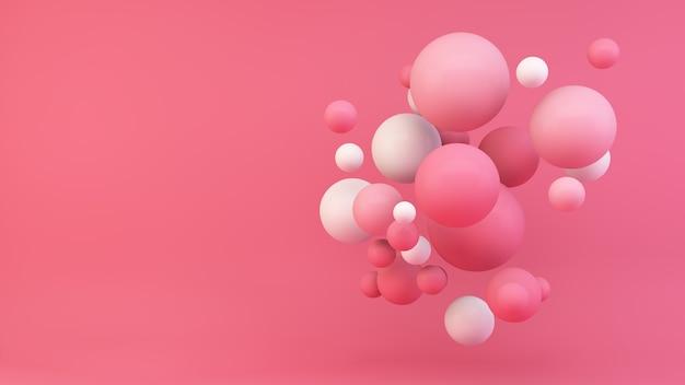 Różowe kule renderowania 3d w tle