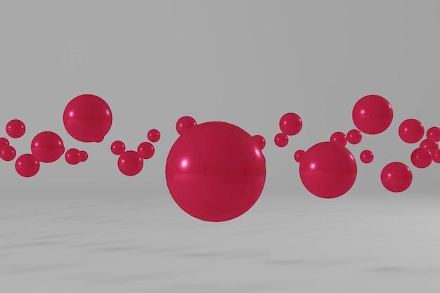 Różowe kulki latające na białym tle abstrakcyjna scena renderowania 3d