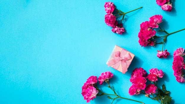 Różowe kwiaty i prezent na niebieskim tle