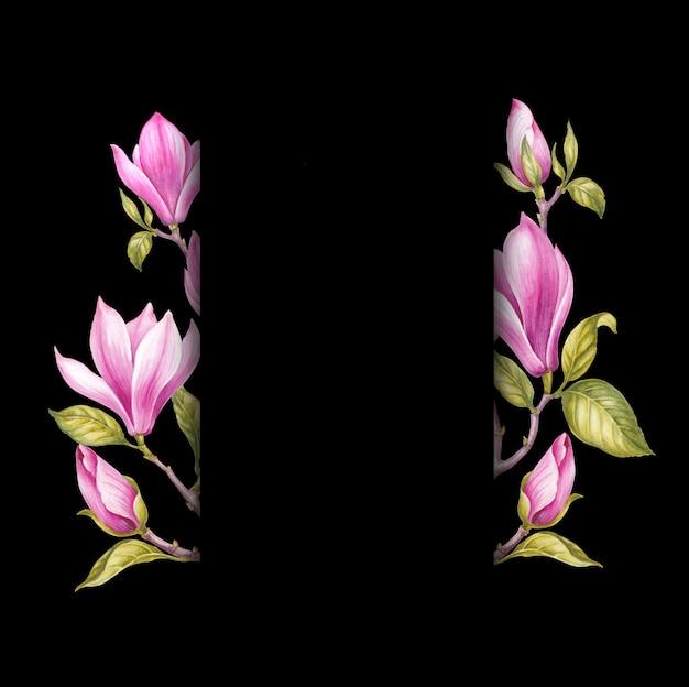 Różowe kwiaty magnolii.