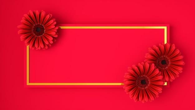 Różowe kwiaty na różowym tle, ilustracja 3d