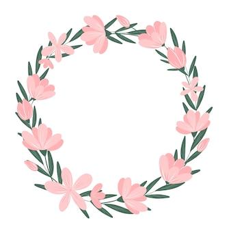 Różowe kwiaty okrągły wieniec na białym tle śliczna rama botaniczna