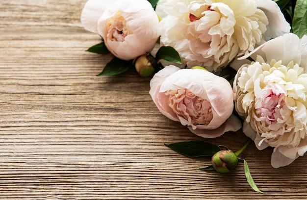Różowe kwiaty piwonii jako obramowanie