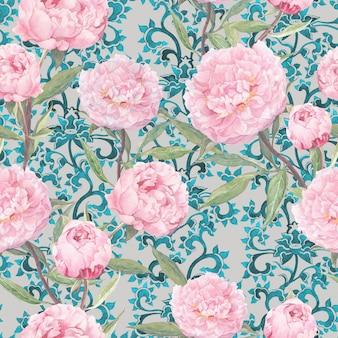 Różowe kwiaty piwonii. vintage kwiatowy powtarzający się wzór azjatycki, orientalny wystrój ozdobny. akwarela