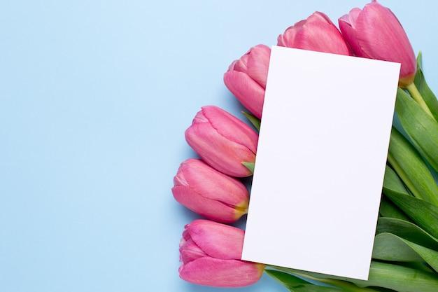 Różowe kwiaty tulipany i obecna karta na niebieskiej powierzchni