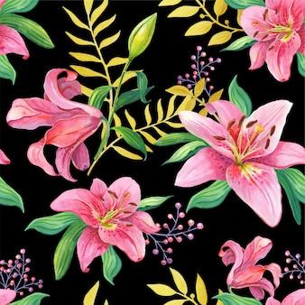 Różowe lilie. akwarelowe kwiaty na czarno