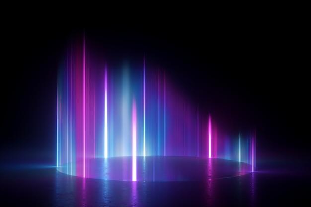 Różowe niebieskie pionowe promienie. zjawisko zorzy polarnej