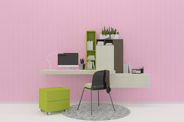 Różowe pastelowe ściany białe drewniane podłogi tekstury tła pracy miejsca książki dywan