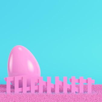Różowe pisanki za płotem na jasnoniebieskim tle w pastelowych kolorach. koncepcja minimalizmu