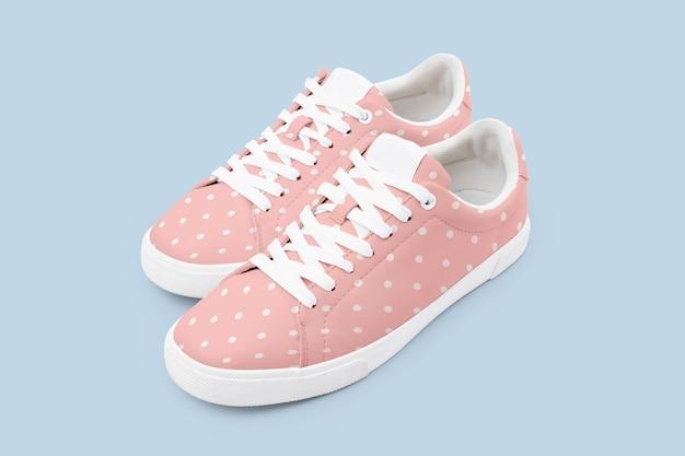 Różowe płócienne trampki z modnym obuwiem w kropki
