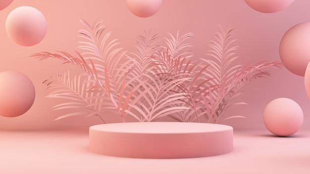 Różowe podium z liśćmi palmowymi
