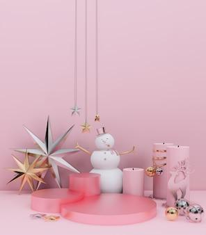 Różowe podium z snowmanem