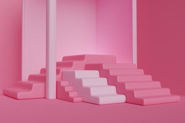 Różowe podium ze schodami