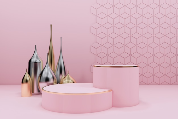 Różowe podium ze złotymi i srebrnymi wazami