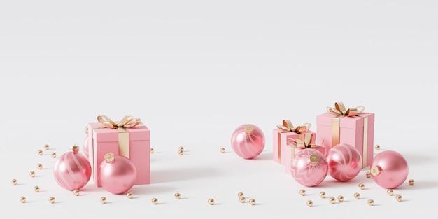 Różowe pudełka ze złotą wstążką i bombkami na białym tle, renderowanie 3d