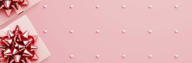 Różowe pudełko i różowa wstążka na różowym wzorze serca
