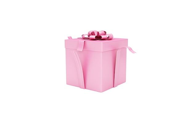 Różowe pudełko na białym tle