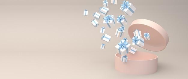 Różowe pudełko na cylinder z otwartą pokrywką kwitnie z wieloma niebieskimi pudełkami na prezenty. ustaw na kremowym tle