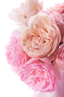 Różowe róże bukiet zbliżenie w wazonie na białym