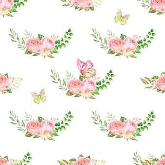 Różowe róże i piwonie z liśćmi na białym tle. wzór.