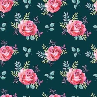 Różowe róże. kwiaty w akwarela na czarnym tle. ilustracja.