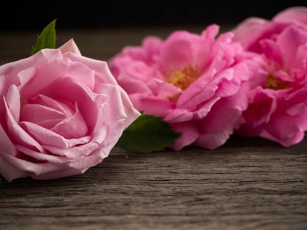 Różowe róże na starej drewnianej podłoga.