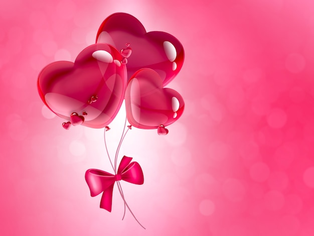 Różowe serca balony romantyczne tło