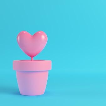 Różowe serce w doniczkach na czerwonym pudełku na jasnym niebieskim tle