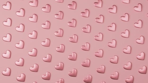 Różowe serce wzór tła w stylu 3d