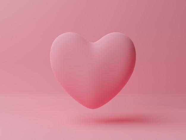 Różowe serce z różowym stołem. koncepcja walentynki. ilustracja renderowania 3d.