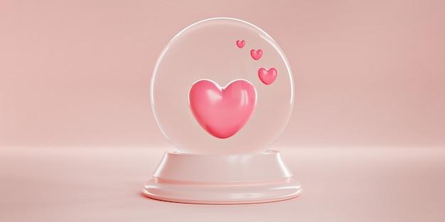 Różowe serduszka w magicznej szklanej kulistej kuli na pastelowym różowym tle.