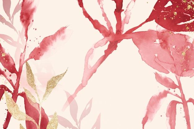 Różowe tło akwarela liści estetyczny sezon wiosenny