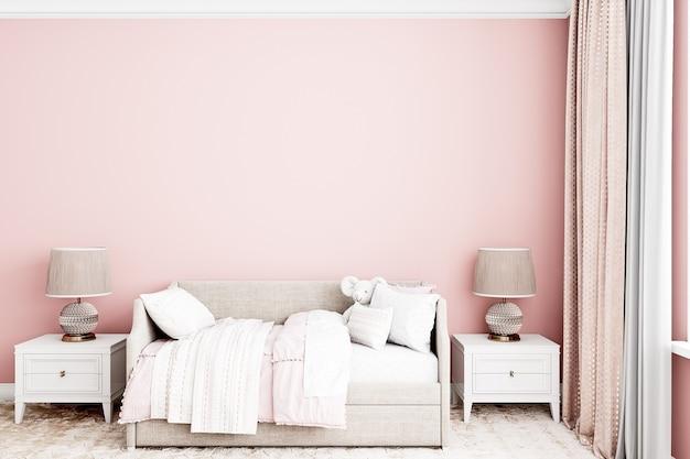 Różowe tło pokoju dziecka