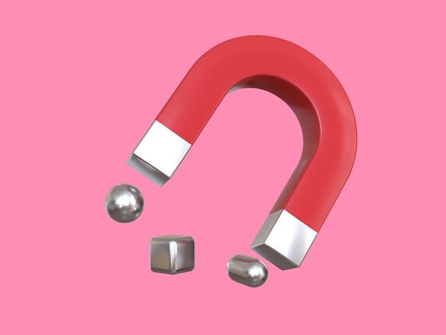 Różowe tło renderowania 3d czerwony magnes