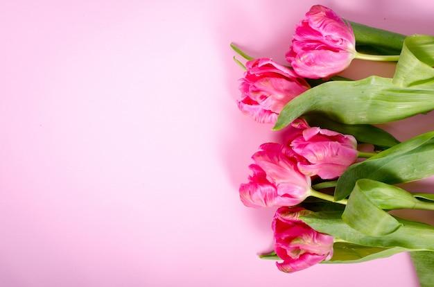 Różowe tulipany na papierze. wolne miejsce na twój tekst.