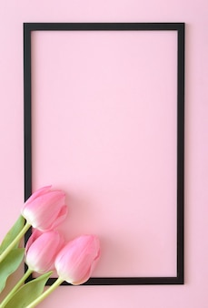 Różowe tulipany wychodzące z rogu na różowym tle z czarną ramką. koncepcja martwa wiosna. leżał płasko.
