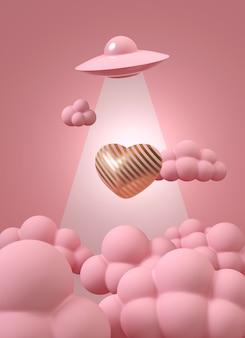 Różowe ufo na niebie z różowymi chmurami unosi różowe różowe serce w paski