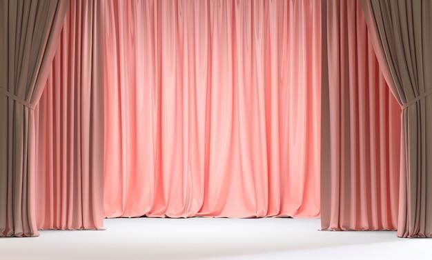 Różowe zasłony i biała podłoga. renderowania 3d