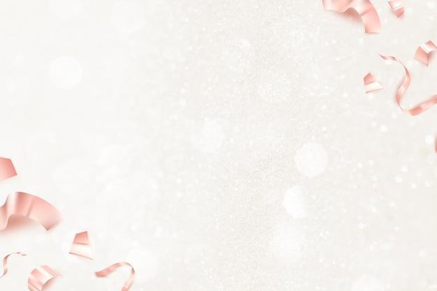 Różowe złote wstążki urodzinowe 3d na kartkę z życzeniami na tle brokatu