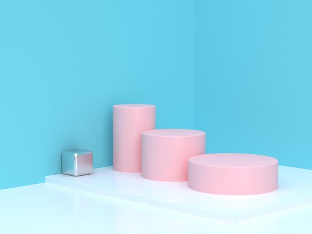 Różowego butla kroka abstrakta błękita narożnika sceny butli podium 3d rendering