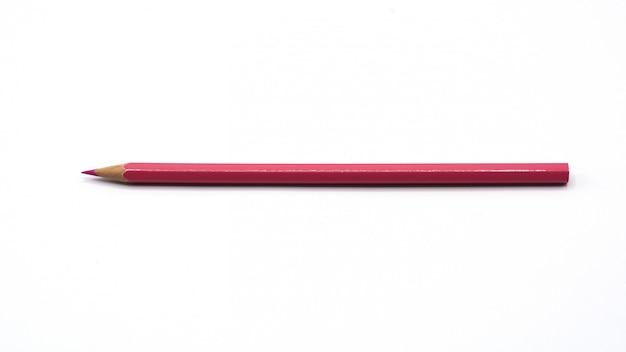Różowi kolorów ołówki odizolowywający na białym tle